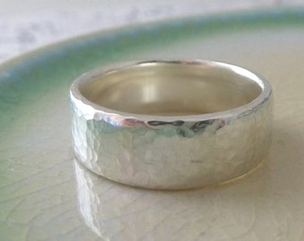 Sterling Silver Wedding Band - 6mm Hand Shaped Slim Court Wedding Ring - Hammered or Smooth - Sterling Silver Wedding Band