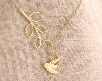 Twig and Bird Lariat - Little Swallow and Twig on Gold Filled Chain - Twig Necklace, Lariat, Bird Jewelry, Sparrow, Swallow, Nature