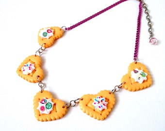 Cookie necklace, whipped cream necklace, miniature food jewelry, food necklace, sprinkles jewelry, kawaii necklace, sugar jewelry