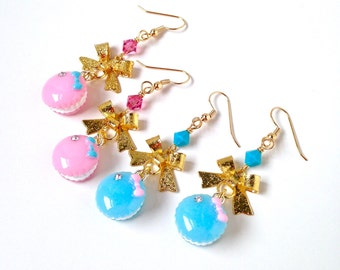 French macaron earrings with gold bow, macaron jewelry, pink earrings, blue earrings, pastel macarons, miniature food jewelry, pastel lolita