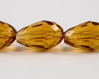 """Topaz Crystal Beads 12x8mm (8x12mm) Topaz Yellow Crystal Teardrop Beads, Chinese Crystal Glass Drop Beads on a 7 1/4"""" Strand with 15 Beads"""
