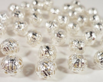 Silver Metal Beads 8mm Round Filigree Beads, Hollow Aluminum Beads, Metal Spacer Beads for Jewelry Making, 30 Loose Beads