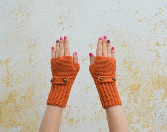Crochet fingerless gloves, knit foxy orange mittens, wool wrist warmers with buttonned flap