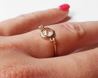 10% OFF SALE Simple Clear Stone Ring - Gold Ring