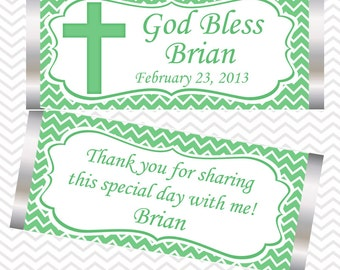 Cross Green Baptism Christening First Holy Communion - Personalized Candy Bar Wrapper