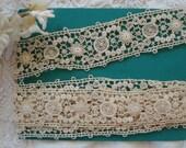 """1y 25"""" Antique Vintage French Cotton Delicate Schiffli Floral Flower Lace Heirloom Trim Victorian Dress Hat Baby Bonnet Flapper Edwardian"""