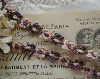 1y Vintage French Pink Mauve Metallic Rococo Rosette Flower Ribbon Hat Doll Trim Supply Scrapbook Crazy Quilt Flapper Embellishment France