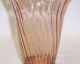 Jeannette Depression Glass Pink SWIRL 6 1/2 Inch High FLOWER VASE