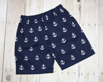 Boys Sailor Anchor shorts  sz 3m, 6m, 9m, 12m, 18m, 24m/ 2, 3,4,5,6,7,8 Navy Beach Nautical Patriotic 4th of July Cruise