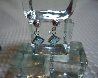 Princess Cut Swiss Blue Topaz Dangle Earrings in Sterling Silver  #1852
