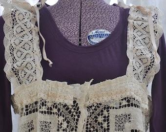 Gorgeous Lace Vest, Upcycled Vintage Lace, CHARLOTTE, Ecru Beige, Repurposed Lace into Elegant Vest, Sz Large, OOAK, Cottage Chic
