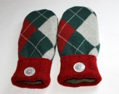 Winter Wool Mittens - Wool Felted Mittens - Sweater Mittens - Fleece Lined Mittens - Womens Size Medium - Red,Green & Grey