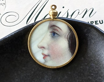 Beauty in Profile Pendant / Mother of Pearl and Brass Monocle Pendant / Hand Painted