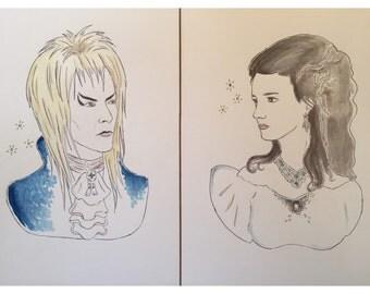 Labyrinth Sarah Jareth print set David Bowie