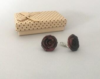 BORDEAUX CLIP EARRINGS, free shipping, romantic earrings with bordeaux rose, clip earrings, for women, lovely, wedding gift for her