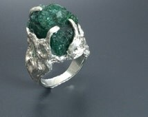 Rough stone ring Nature jewelry Emerald statement ring