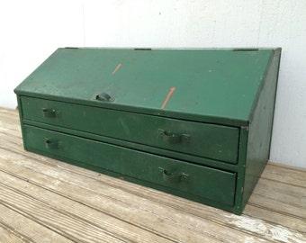 Vintage Industrial Two Drawer Table Top Cabinet Workstation Desk