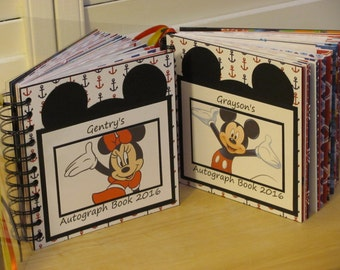 Disney Autograph Book  CRUISE ALBUM with Minnie Mouse or Mickey Mouse Album Scrapbook in Red White Blue Nautical Anchor Paper Theme Ship