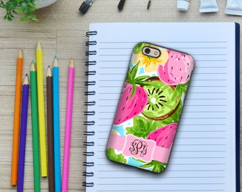 Preppy summer Iphone 6s case, Strawberries Iphone 6 Plus case, Pink fashion accessories, Iphone SE case, Gifts for BFF or mom (1642)