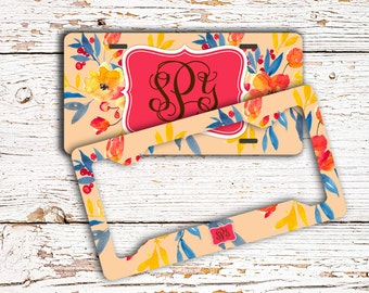 Floral monogram license plate or frame, Coral gold blue flowers, Auto accessories, Unique bicycle license plate, Floral auto decor (1643)