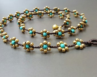 Flower  Turquoise Brass  Necklace