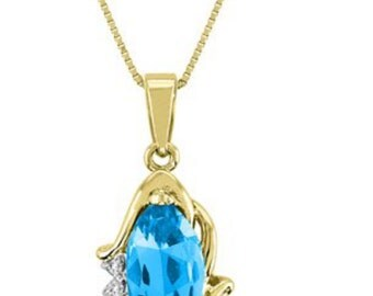 Blue Topaz & Diamond Pendant Necklace With Chain 14K Yellow Gold