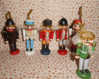 """Wooden Vintage Christmas Soldier Ornaments-6 Total-4"""" Tall"""