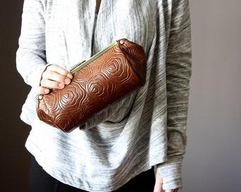 Rose Leather clutch - leather clutch purse - frame clutch - frame purse - brown leather clutch