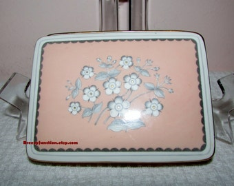 Cigarette Box, Wedgwood Pimpernel Pink, Pattern W3652, Bone China, Made in England, Pink Gray, Gold - BreezyJunction.etsy.com