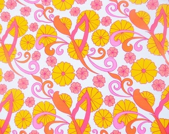 """Vintage~Key West Hand Print~Lilly Pulitzer~ fabric~ """"Flower Fair by PELL~100% Cotton, 3.25 Yards, Tropical, 1970's"""