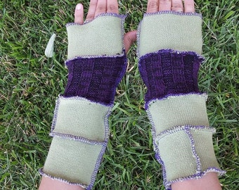 Joker Upcycled Sweater Armwarmers OOAK DC Cosplay Costume Fingerless Batman