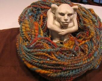MASTERMIND, priced per 10 yards, handspun sequins, art yarn, thick/thin yarn, 2-ply, super bulky, angelina fiber, sari silk, homespun