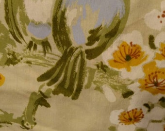 Twin Fitted Sheet Yellow with Blue Birds and Yellow Flowers