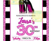 High heels invitation, milestone black stripes stilettos invitation, Hot pink and black fashion shoes invitation, Fashionista Invitation