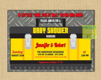 Tools baby shower invitation, tools box invitation, handyman baby shower invite, mr fix baby shower, Boy Baby Shower Invitation, tools invit