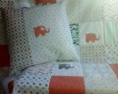 Elephant Baby Quilt and Matching Pillow, Coral, Mint and Gray Nursery Bedding, Coral and Mint Crib Quilt and Elephant Pillow