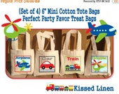 "Transportation Plane Car Helicopter Train Birthday Party Treat Favor Gift Bags Mini 6"" Natural Cotton Totes Children Kids"