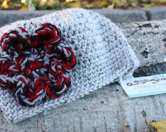 Speckled Grey CROCHET Beanie Hat with RED and Black Flower, Grey Crochet Winter Hat with Red and Black Flower, Grey Baby GIRL Crochet Hat