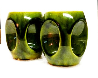Stoneware Coffee Mugs Green Jeweled Tone Glaze Holkham Pottery Company Owl Eyes Mugs Set Of 2 Earthenware Cups Made In England