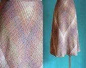 Vintage 70s Skirt - Wool Blend Plaid Skirt - Long A Line Skirt - Tan Plaid High Waisted Skirt - Midi Skirt - Winter Skirt - Size XS / Small