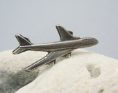 Sterling Plane Tie Tack Boeing 747 Airplane Mens Jewelry H794