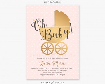 pink u0026 gold baby shower invitations printed blush sprinkle twins couples oh baby vintage