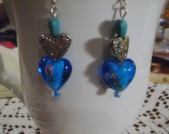 Turquoise Blue Heart Earrings - Free Shipping