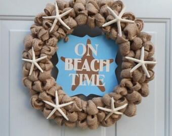 Beach wreath Seashore wreath Starfish wreath Burlap wreath Beach decor Beach door decor Beach inspired wreath Starfish decor Beach decor RTS