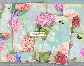 Dream Garden - background - digital collage sheet - set of 8 - Printable Download