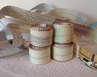 Aqua Thread Paper Ribbon, Handmade Paper Ribbon, Vintage Paper Ribbon, Mixed Paper Ribbon