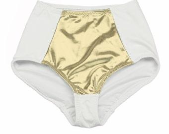 White and Gold Bathing Suit Bottom High Waist Swimsuits Metallic Swimwear