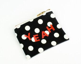 Polka Dot Coin Purse Canvas Zippered Mini Bag