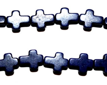 Full Strand of Turquoise, Magnesite  Lapis Blue Crosses
