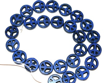 15 mm Turquoise, Magnesite Lapis Blue Peace Sign Beads